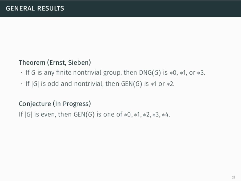 general results Theorem (Ernst, Sieben) ∙ If G ...