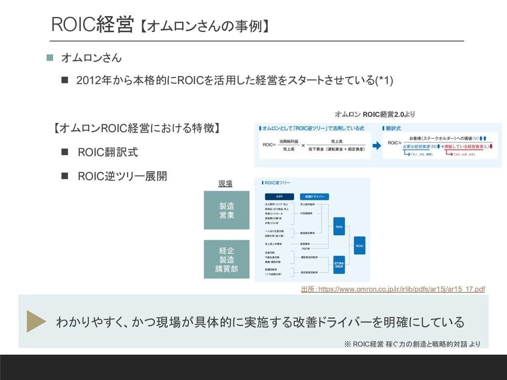 ROIC経営 【オムロンさんの事例】 n オムロンさん n 2012年から本格的にROICを活...