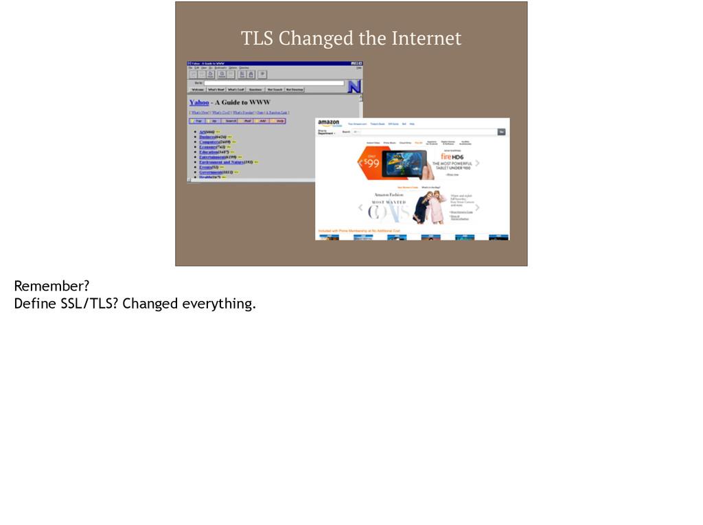 TLS Changed the Internet Remember? Define SSL/T...