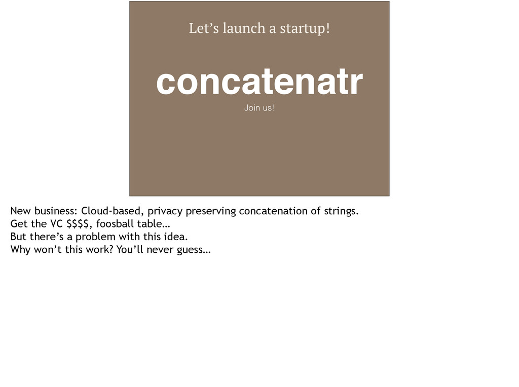 Let's launch a startup! concatenatr! Join us! N...