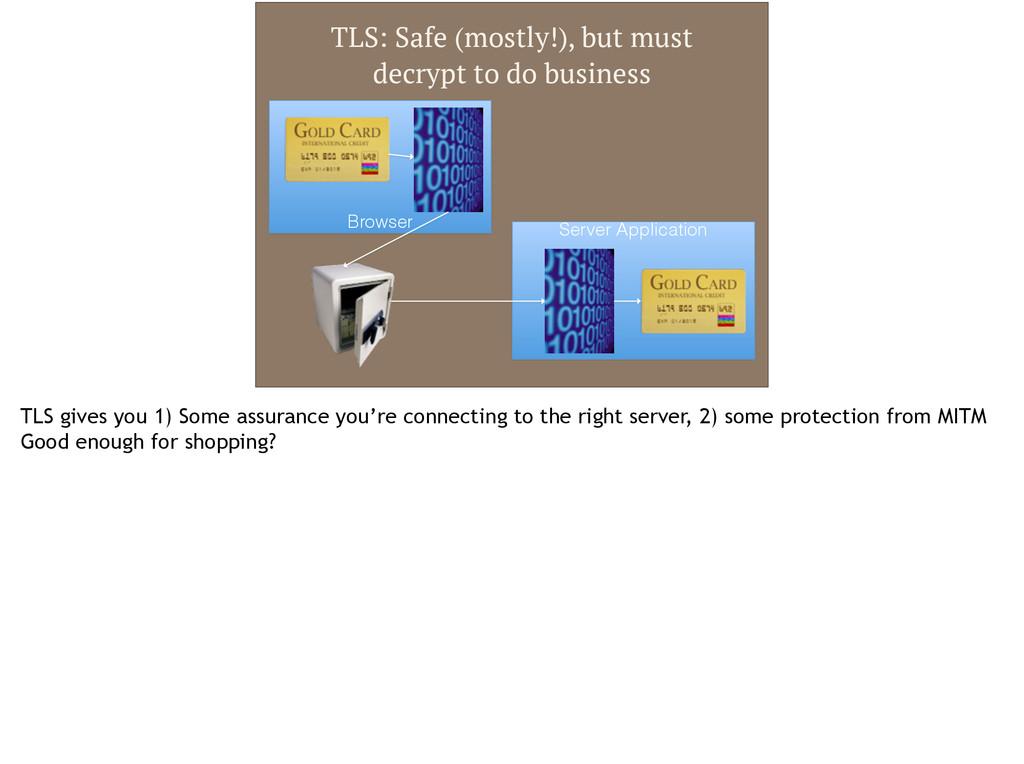 Browser Server Application TLS: Safe (mostly!),...