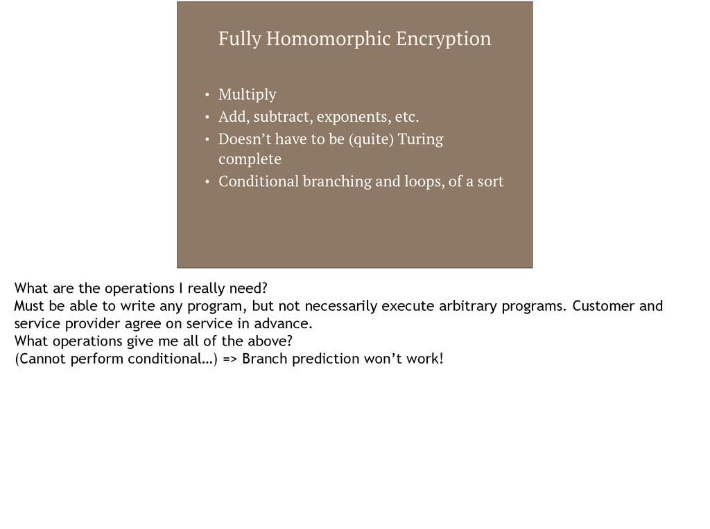 Fully Homomorphic Encryption • Multiply • Add, ...