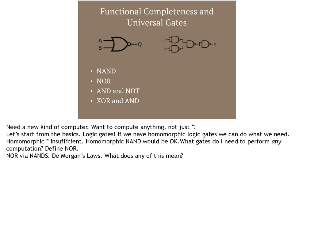 Functional Completeness and Universal Gates • N...