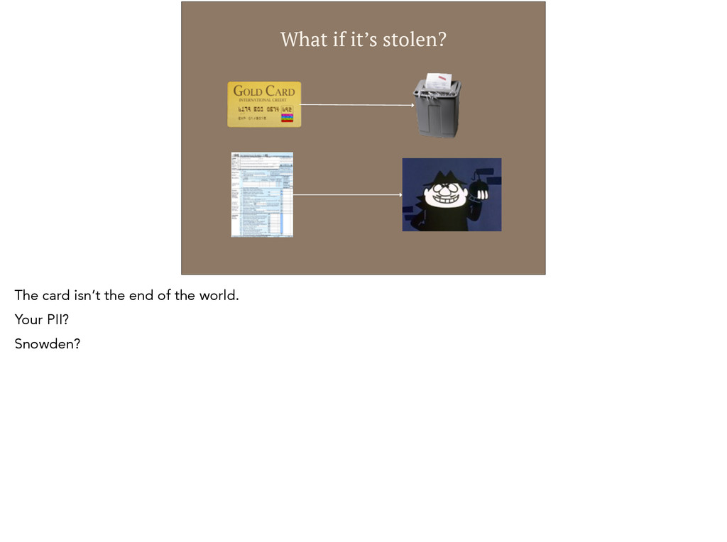 What if it's stolen? The card isn't the end of ...
