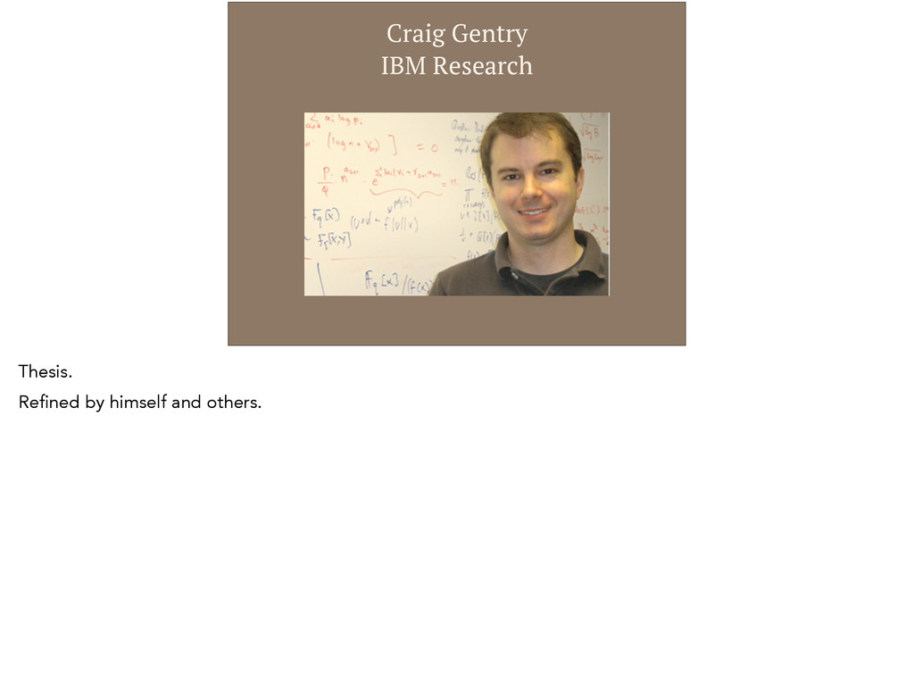 Craig Gentry  IBM Research Thesis. Refined by ...