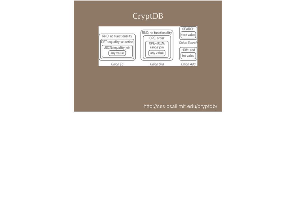 CryptDB http://css.csail.mit.edu/cryptdb/
