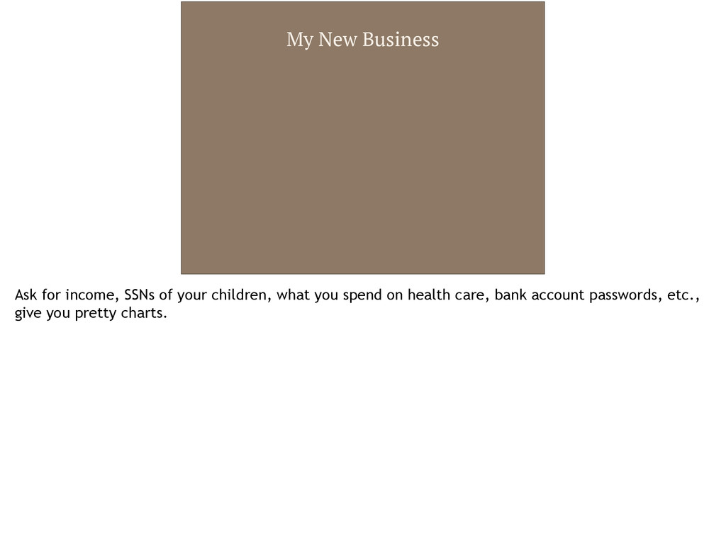 My New Business Ask for income, SSNs of your ch...