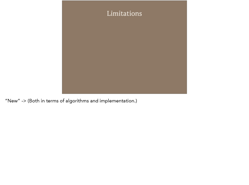 """Limitations """"New"""" -> (Both in terms of algorith..."""