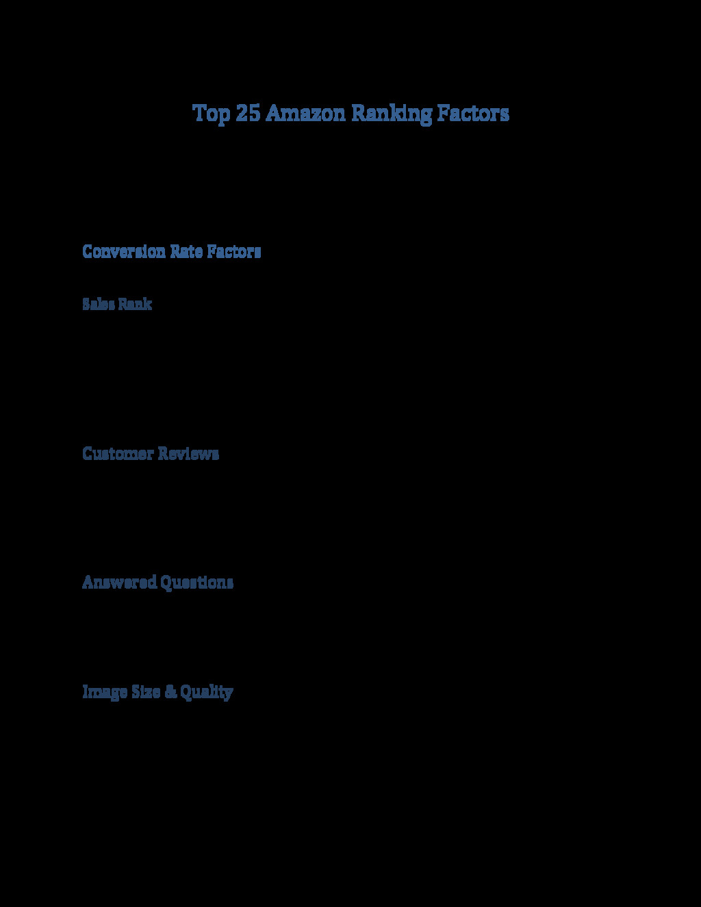 Top 25 Amazon Ranking Factors Amazon is not Goo...