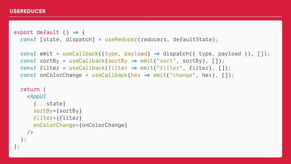 export default () => { const [state, dispatch] ...