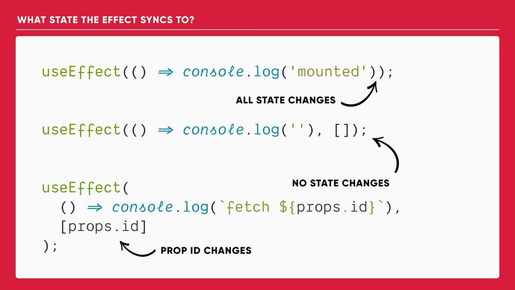 useEffect(() => console.log('mounted')); useEff...