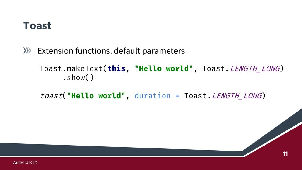 Extension functions, default parameters Toast.m...
