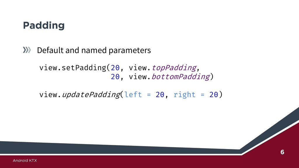 Default and named parameters view.setPadding(20...
