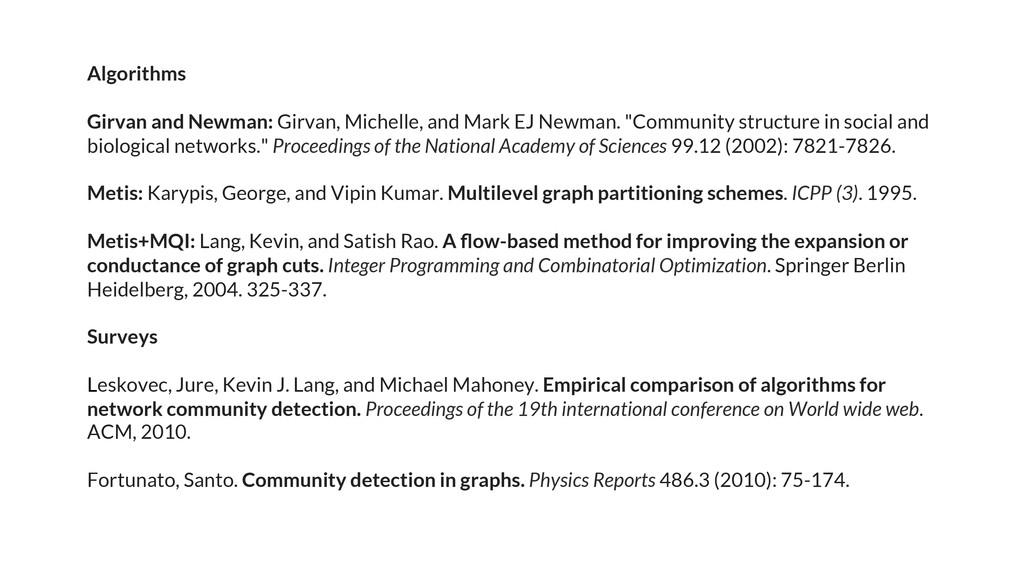 Algorithms Girvan and Newman: Girvan, Michelle,...