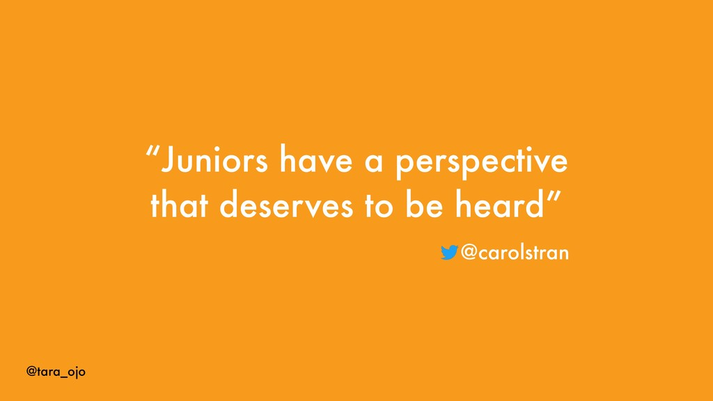 "@tara_ojo ""Juniors have a perspective that dese..."