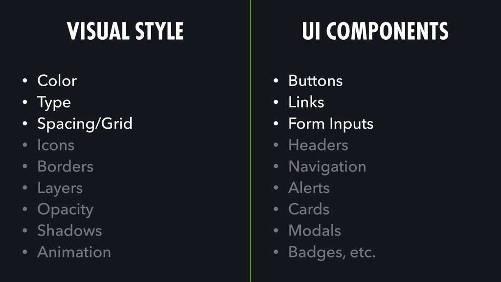 VISUAL STYLE UI COMPONENTS • Color • Type • Spa...