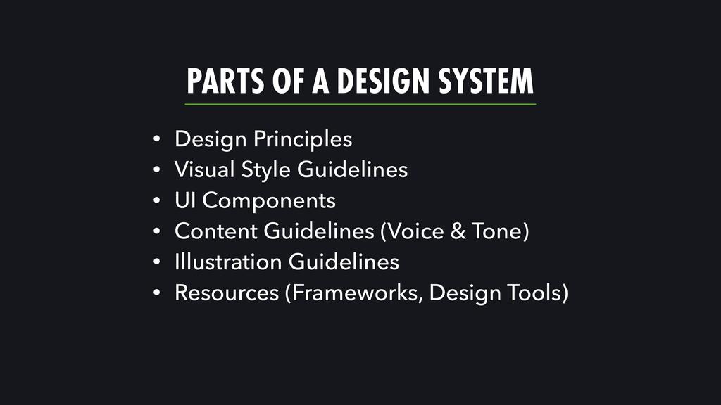 PARTS OF A DESIGN SYSTEM • Design Principles • ...