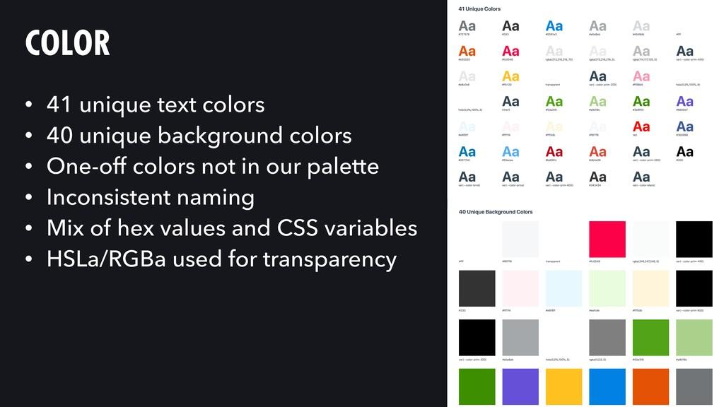 COLOR • 41 unique text colors • 40 unique backg...