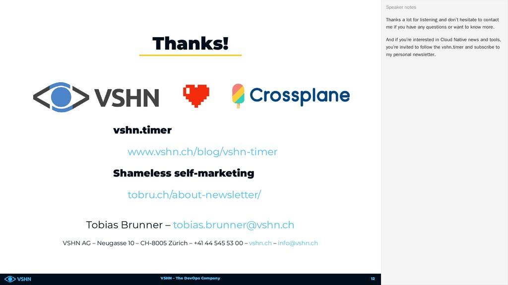 VSHN – The DevOps Company vshn.timer Shameless ...