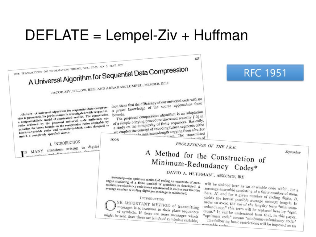 DEFLATE = Lempel-Ziv + Huffman RFC 1951