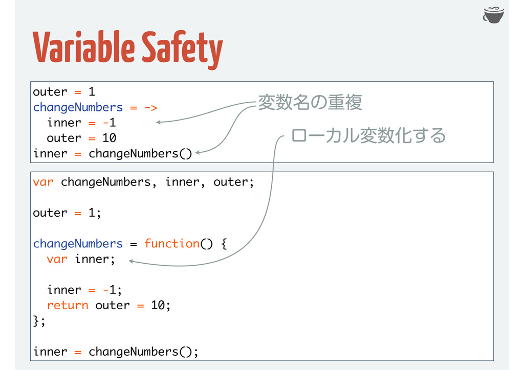 Variable Safety outer = 1 changeNumbers = -> in...