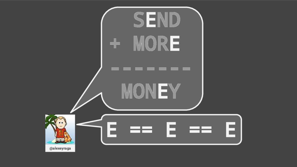 SEND + MORE ------- MONEY @alexeyraga E == E ==...