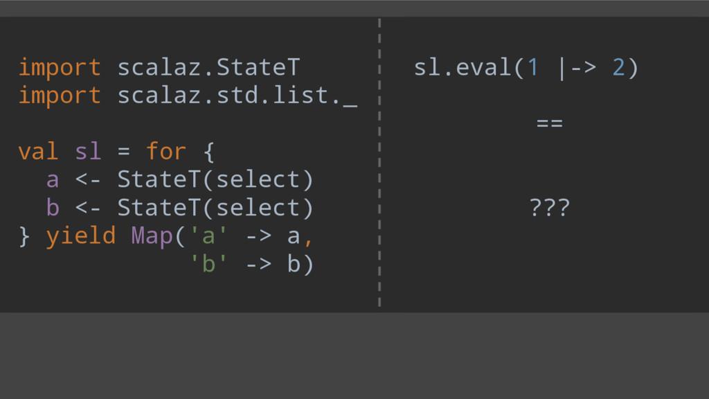 sl.eval(1 |-> 2) == ??? import scalaz.StateT im...