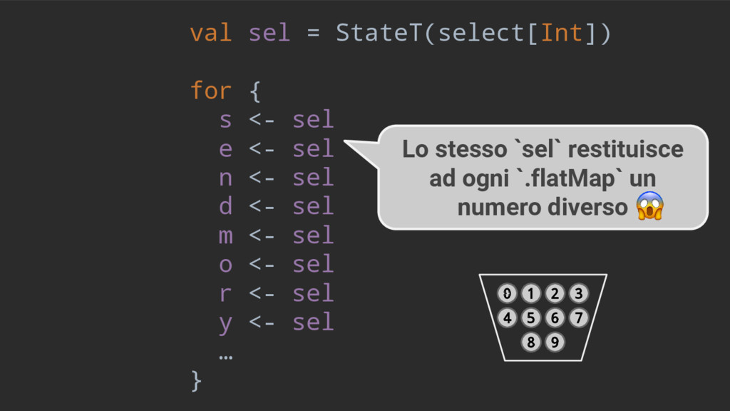 val sel = StateT(select[Int]) for { s <- sel e ...