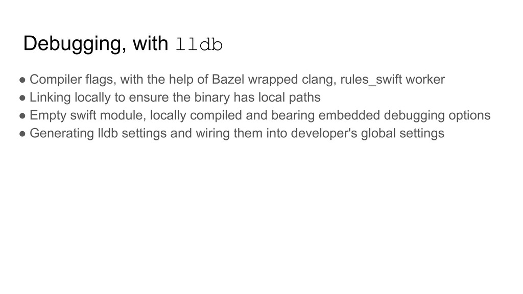 Debugging, with lldb ● Compiler flags, with the...