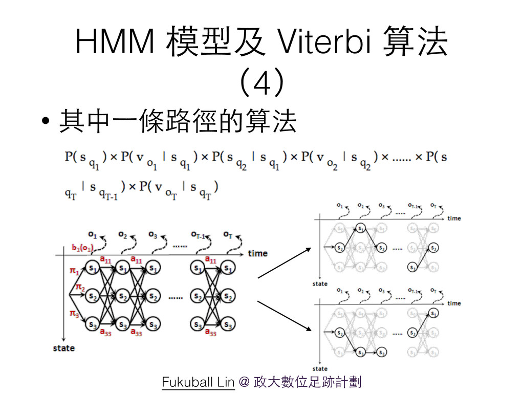 HMM 模型及 Viterbi 算法 (4) • 其中⼀一條路徑的算法 Fukuball Li...