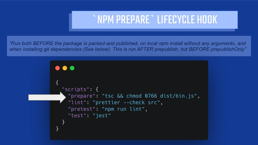 "`NPM PREPARE` LIFECYCLE HOOK ""Run both BEFORE t..."