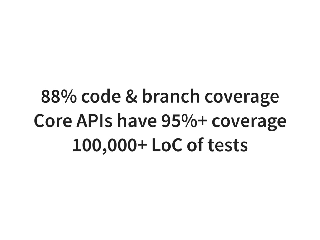 88% code & branch coverage Core APIs have 95%+ ...