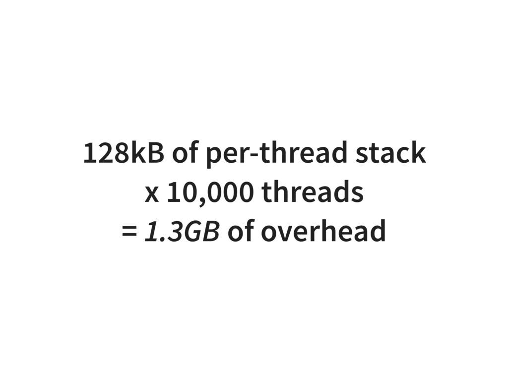 128kB of per-thread stack x 10,000 threads = 1....