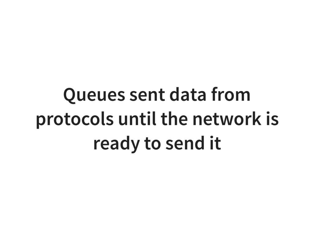 Queues sent data from protocols until the netwo...