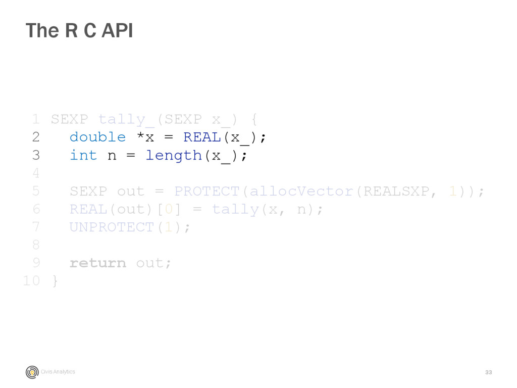 Civis Analytics 33 The R C API 1 SEXP tally_(SE...