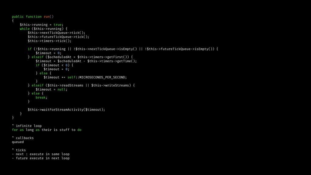 public function run() { $this->running = true; ...