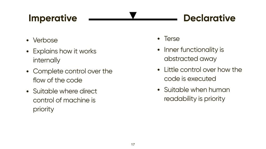 17 Imperative Declarative • Verbose • Explains ...