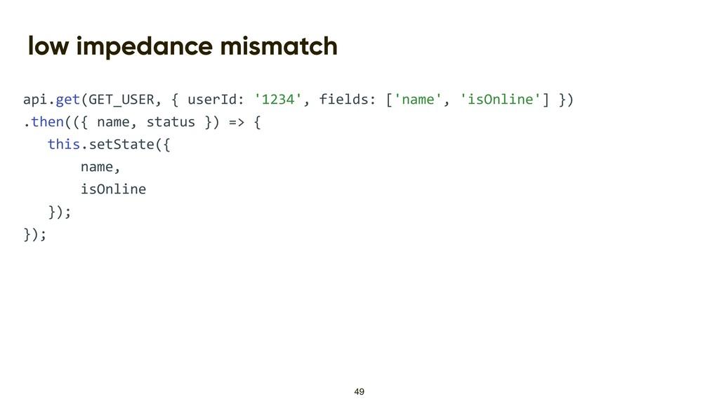 low impedance mismatch api.get(GET_USER, { user...