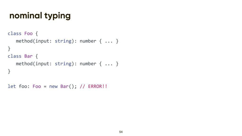 nominal typing class Foo { method(input: string...