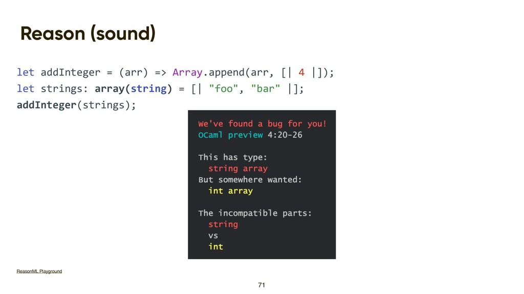 Reason (sound) let addInteger = (arr) => Array....