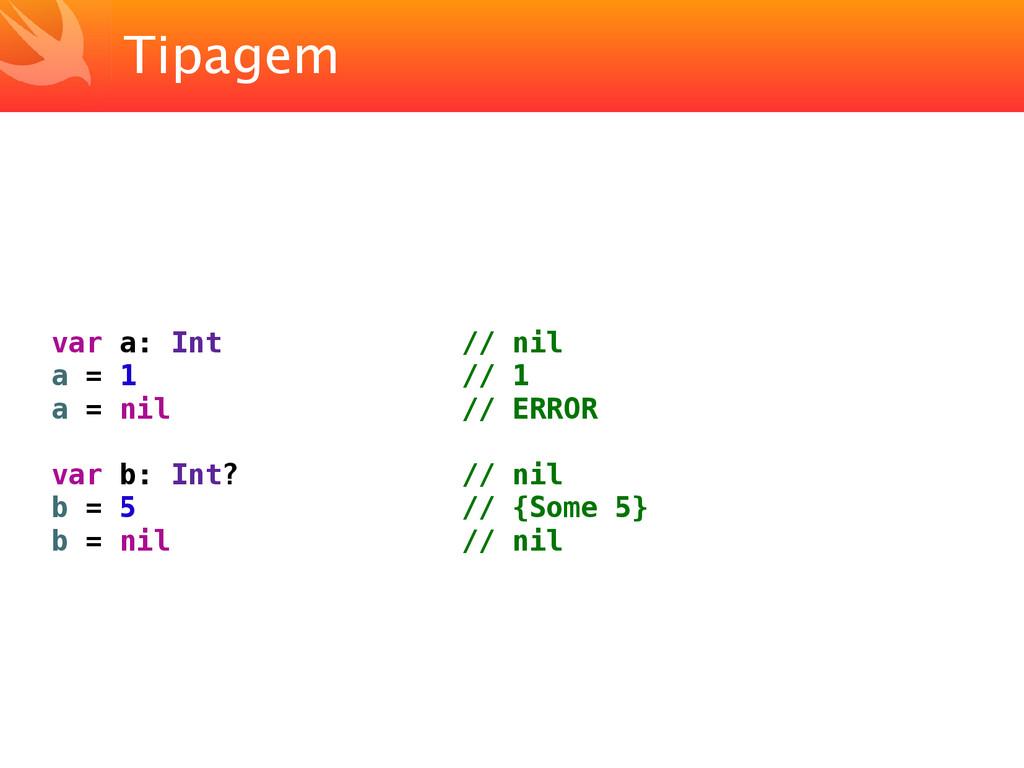 Tipagem var a: Int // nil a = 1 // 1 a = nil //...