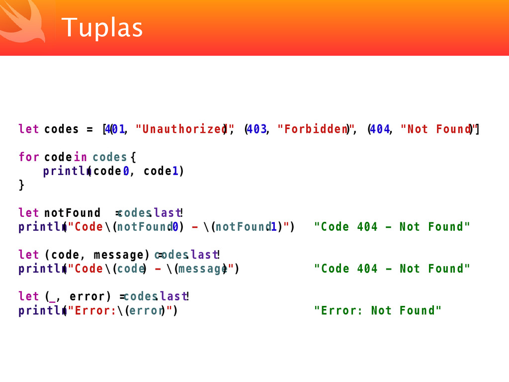 "Tuplas let codes = [( 401, ""Unauthorized"" ), ( ..."