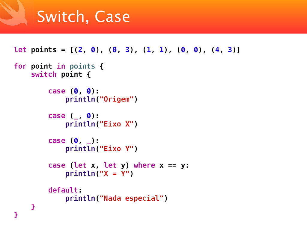 Switch, Case let points = [(2, 0), (0, 3), (1, ...