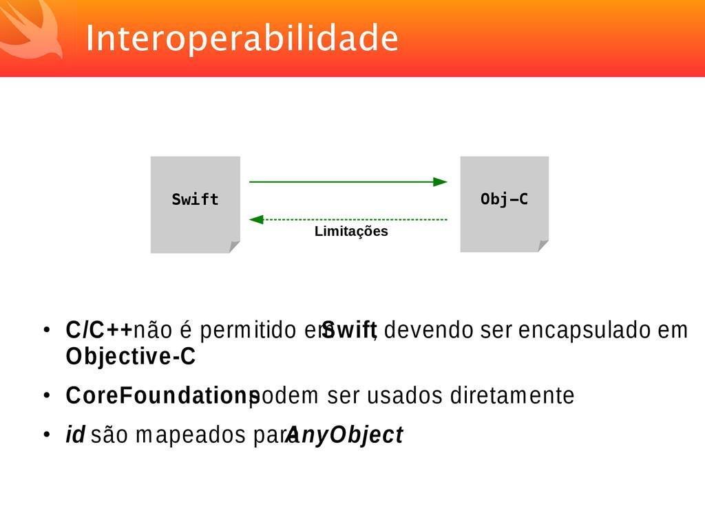 Interoperabilidade ● C/C++ não é permitido em S...