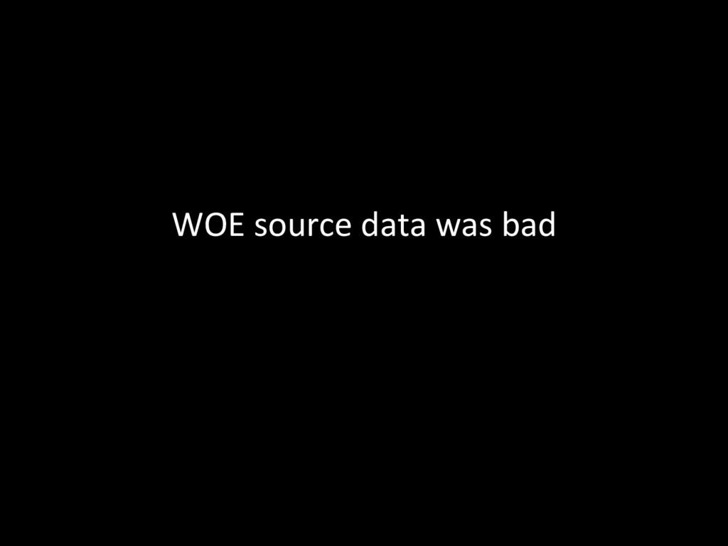 WOE source data was bad