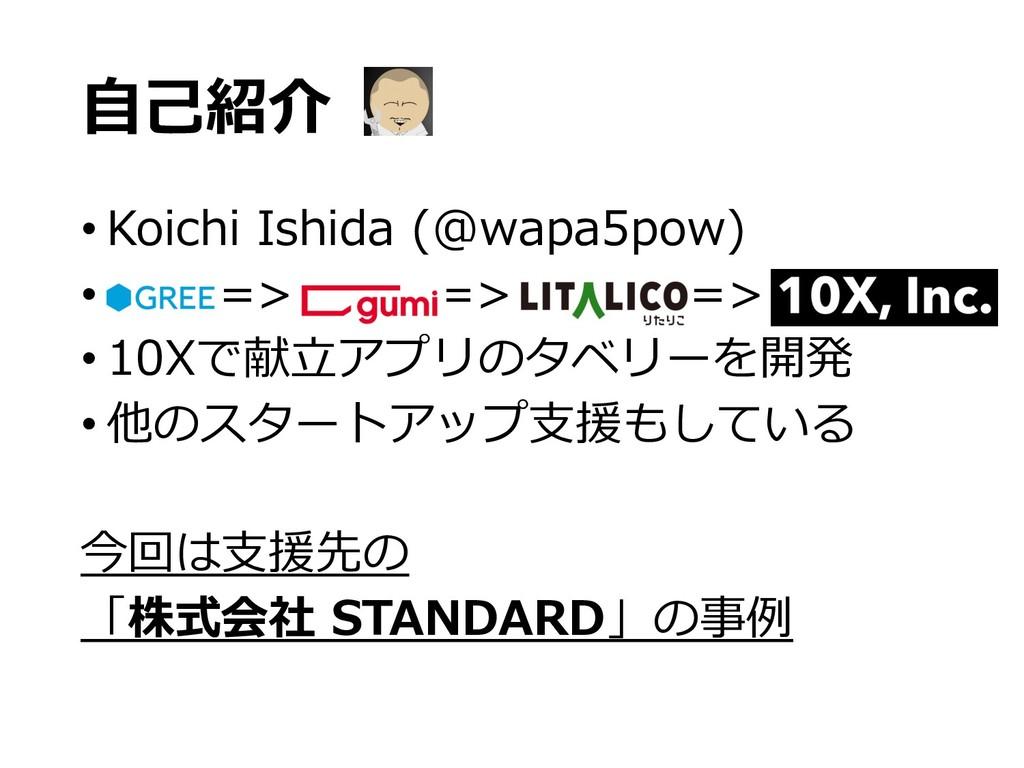 ⾃⼰紹介 • Koichi Ishida (@wapa5pow) • => => => • 1...