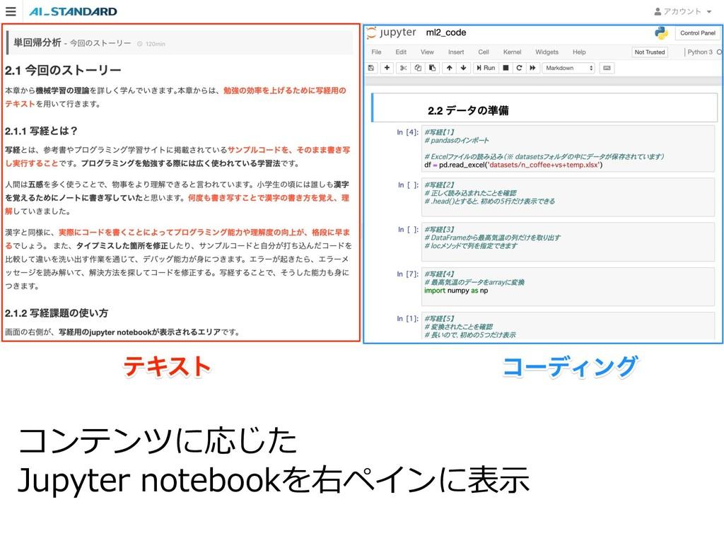 コンテンツに応じた Jupyter notebookを右ペインに表⽰