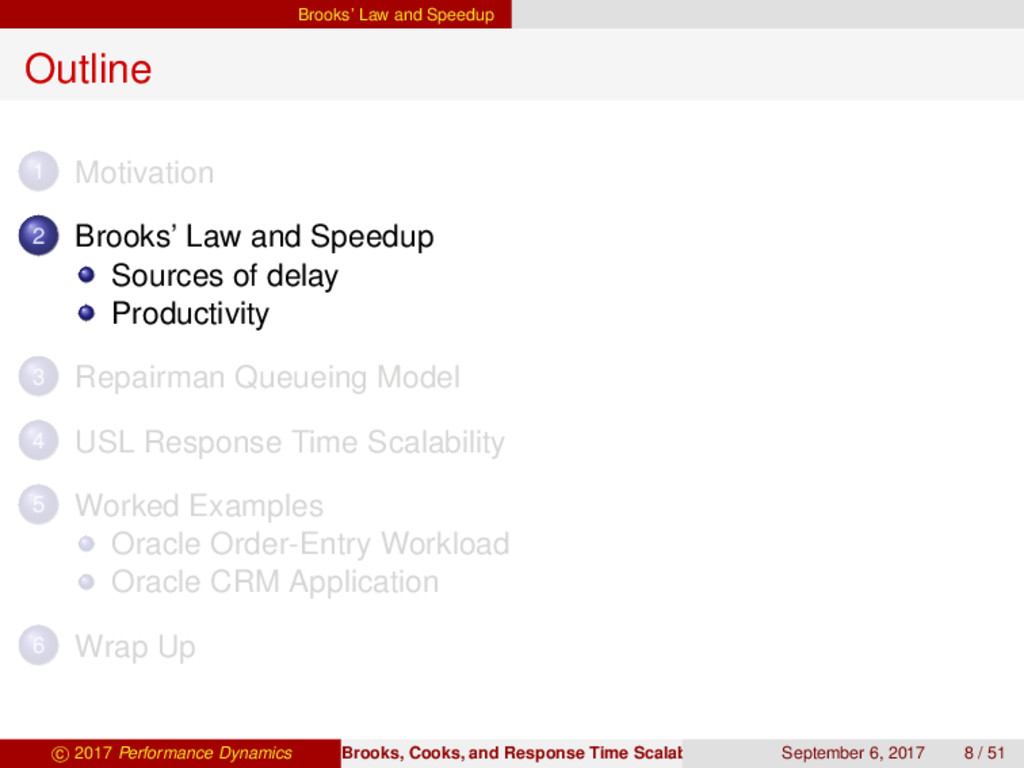 Brooks' Law and Speedup Outline 1 Motivation 2 ...