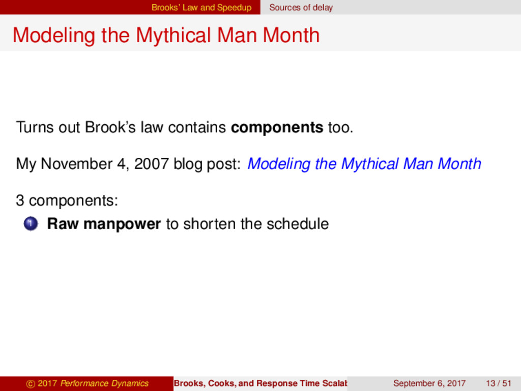 Brooks' Law and Speedup Sources of delay Modeli...