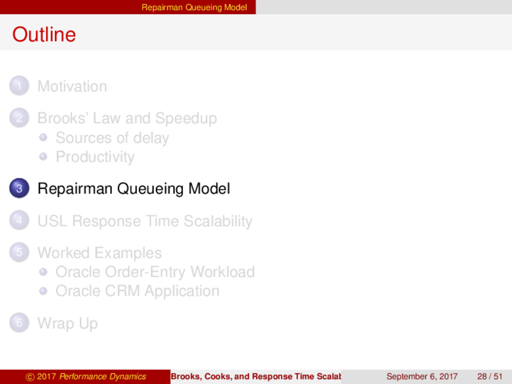 Repairman Queueing Model Outline 1 Motivation 2...
